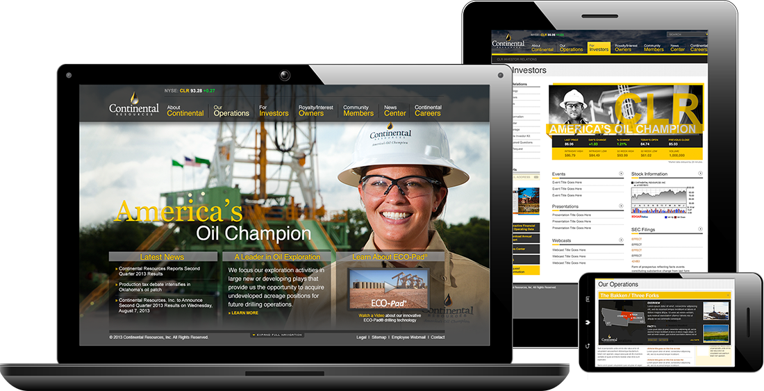 Continental Resources website on multiple devices